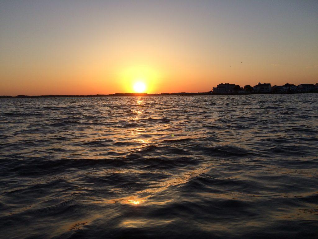 Ocean City Sunset on Assawoman Bay on a Kayaking trip from MadMen Beach House
