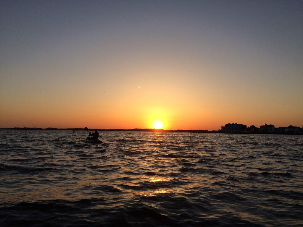 Ocean City Maryland Sunset on Assawoman Bay on a Kayaking trip from MadMen Beach House